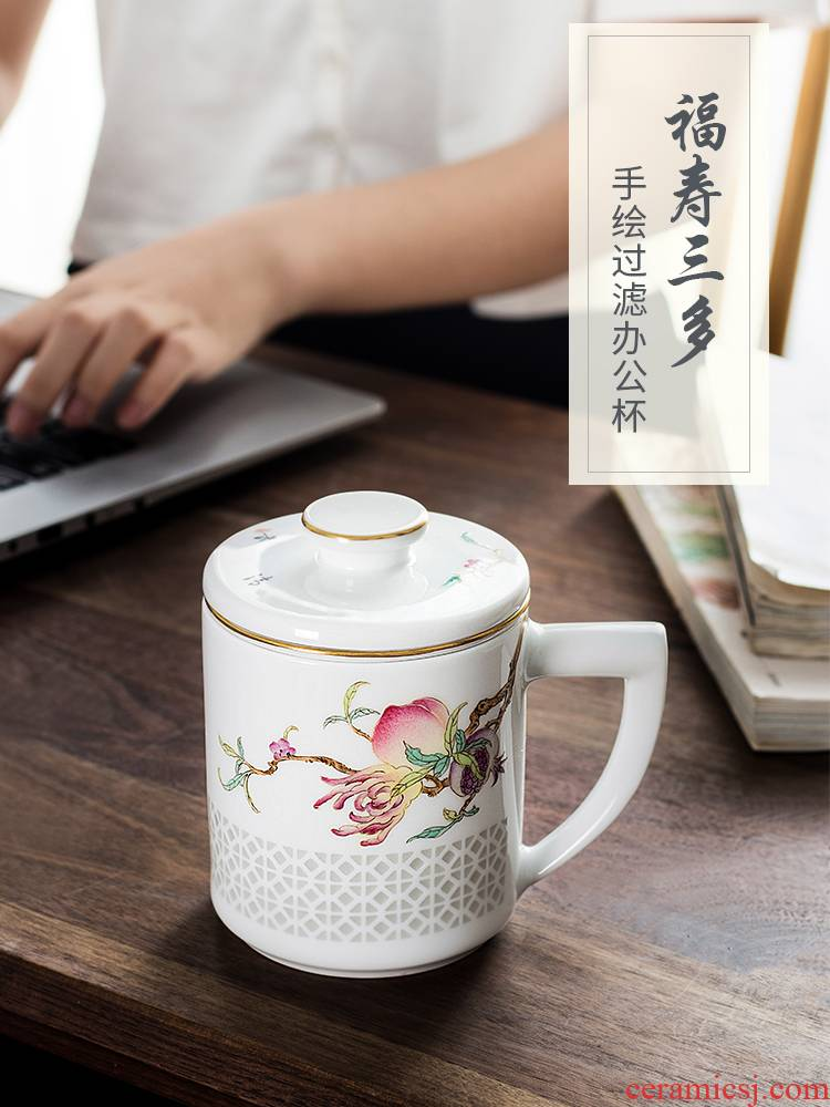 Jingdezhen high - grade ceramic cups with cover filter hand - made office cup gifts customized business cup tea separation