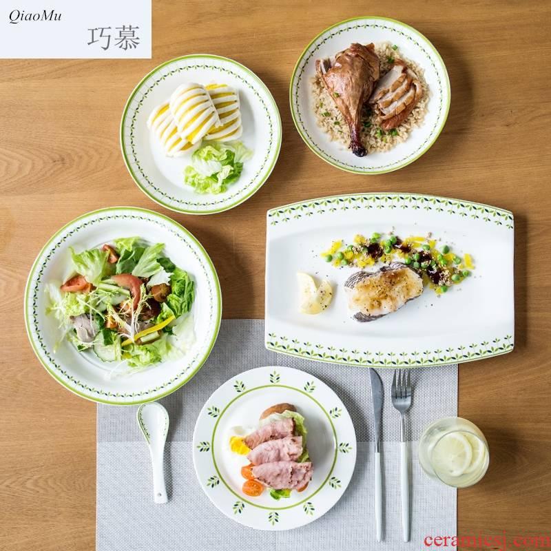 Qiam qiao mu creative Chinese tableware ceramics plate flat tray plates steak household food dish dish of green