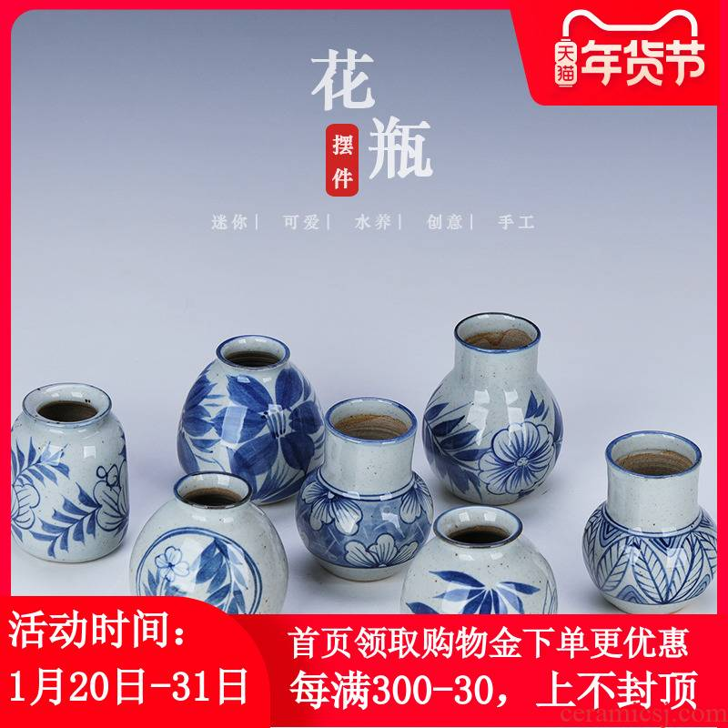 Jingdezhen ceramic hand - made small expressions using coarse pottery vase of blue and white porcelain water raise small - bore hydroponic mini small place is small