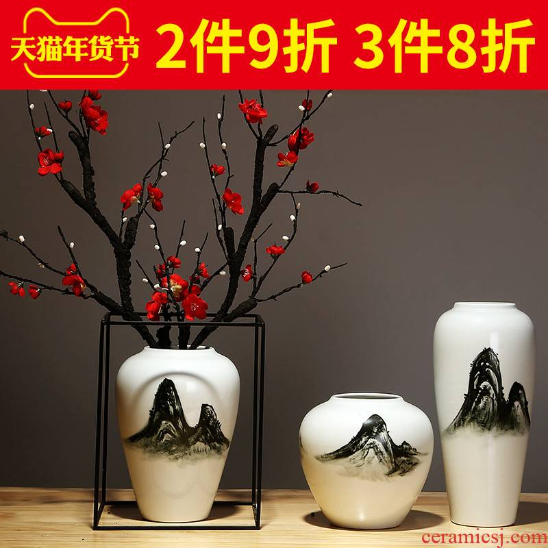 Jingdezhen ceramics vase manual contracted creative Chinese sitting room porch place flower arranging household ornaments