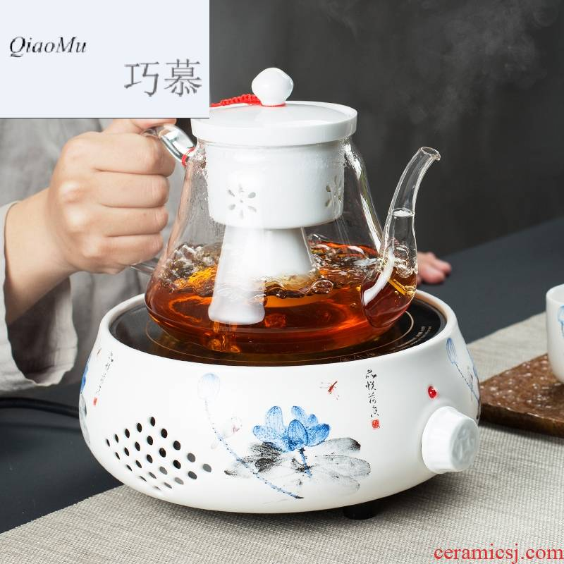 Qiao longed for a whole set of household electricity TaoLu boiling tea ware tea steamer heat - resistant glass teapot black tea ceramic tea set