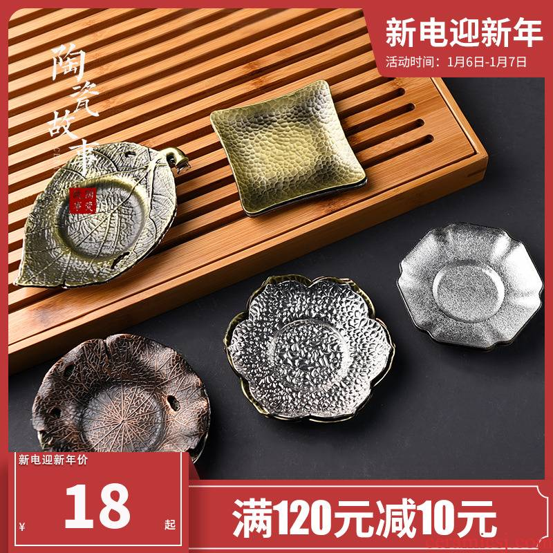 Ceramic story ideas or golden cup mat cup tray antiskid insulated pad retro kung fu tea tea accessories