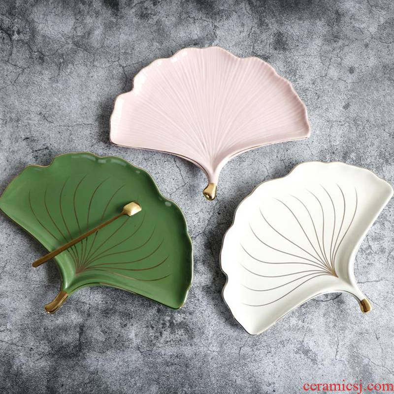Up Phnom penh, ginkgo biloba ceramic snack dish plate to receive dish household example room soft adornment ornament furnishing articles
