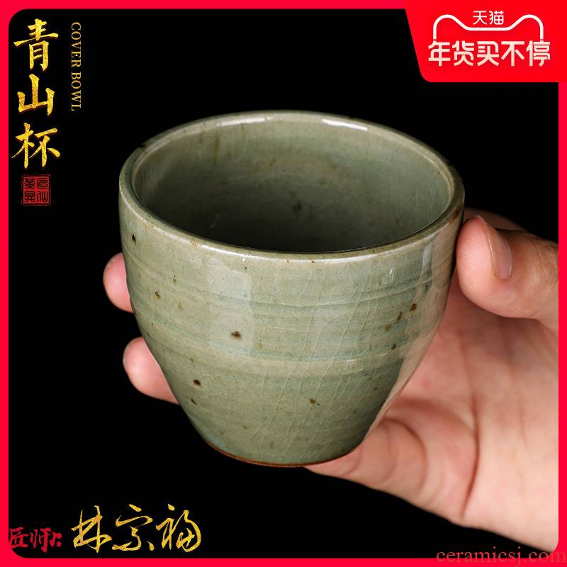 The Master artisan fairy Lin Zongfu firewood ceramic cups pure manual open piece of kung fu tea masters cup single CPU restoring ancient ways