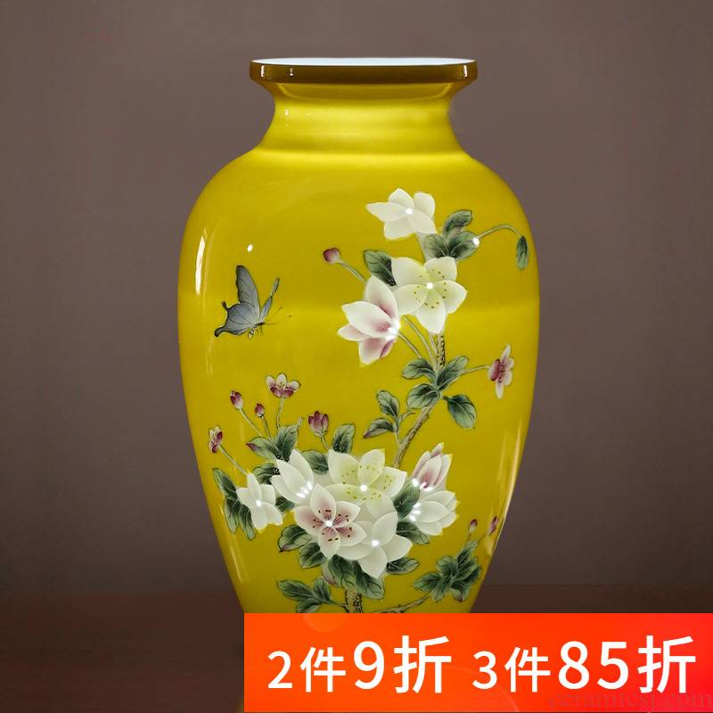Jingdezhen porcelain ceramic light yellow emperor hand - made exquisite knife clay vase key-2 luxury home sitting room adornment is placed