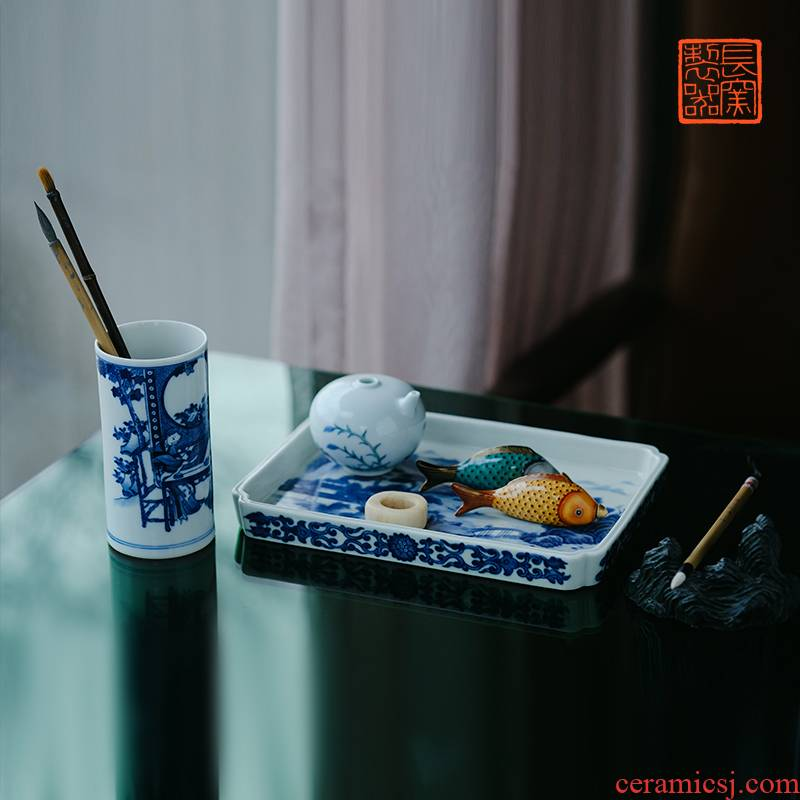 Offered home - cooked hand - made the plate of jingdezhen blue and white landscape character stationery in pure manual archaize ceramic four items