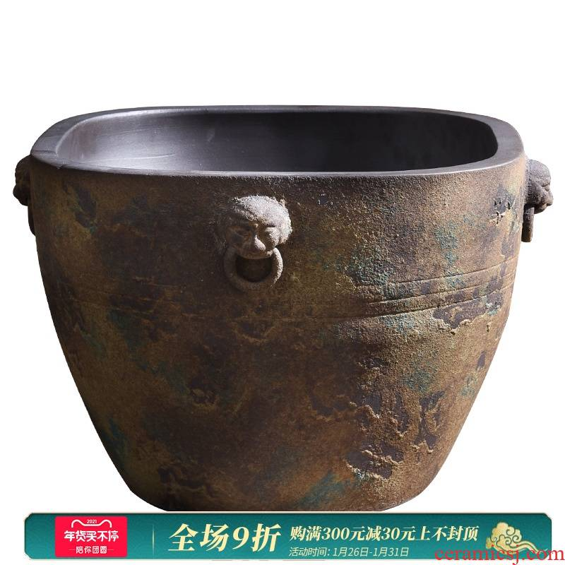 Coarse pottery garden flowerpot planting big basin to restore ancient ways do old ceramic cylinder lion king ceramic cylinder water lily flower bed