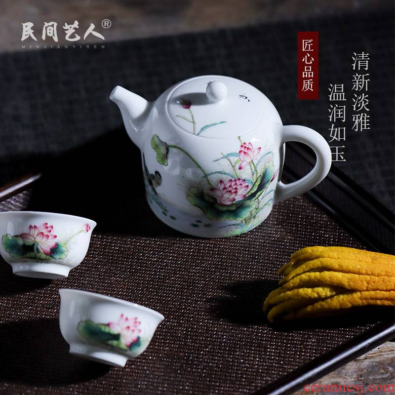 Pure hand - made jingdezhen famille rose porcelain teapot kung fu tea teapot with handle household small single