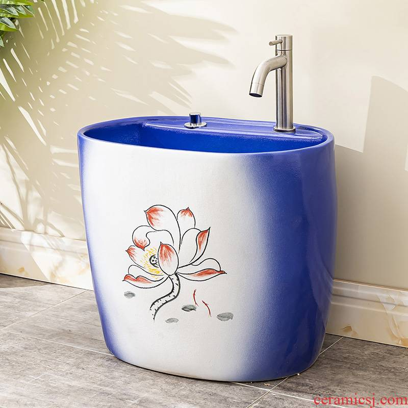 The Mop pool table control automatic ceramic wash Mop pool balcony is suing toilet water basin 8 Mop pool