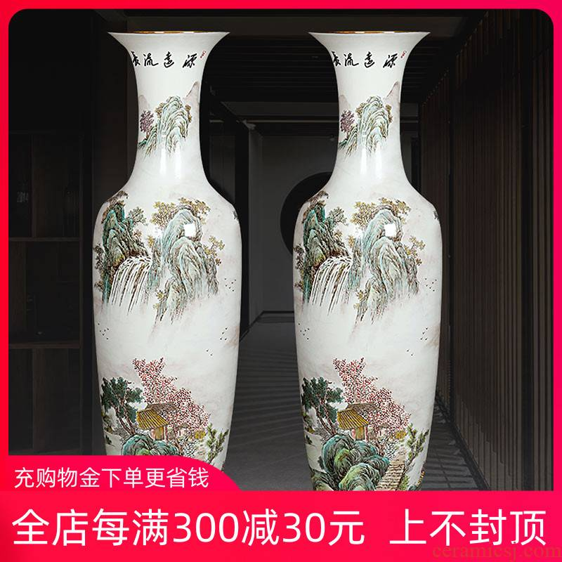 Jingdezhen ceramics hand - made scenery of large vase decorated hall handicraft furnishing articles sitting room hotel company