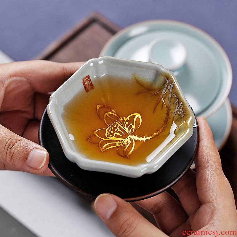 Qiao mu PMZ kung fu tea set single CPU hand - made azure your up chinaware with silver checking master cup of tea