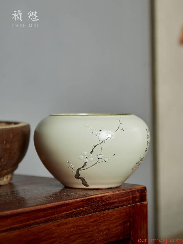 Shot incarnate your up hand - made name plum tea wash water jar jingdezhen ceramic kung fu tea set with parts built water washing