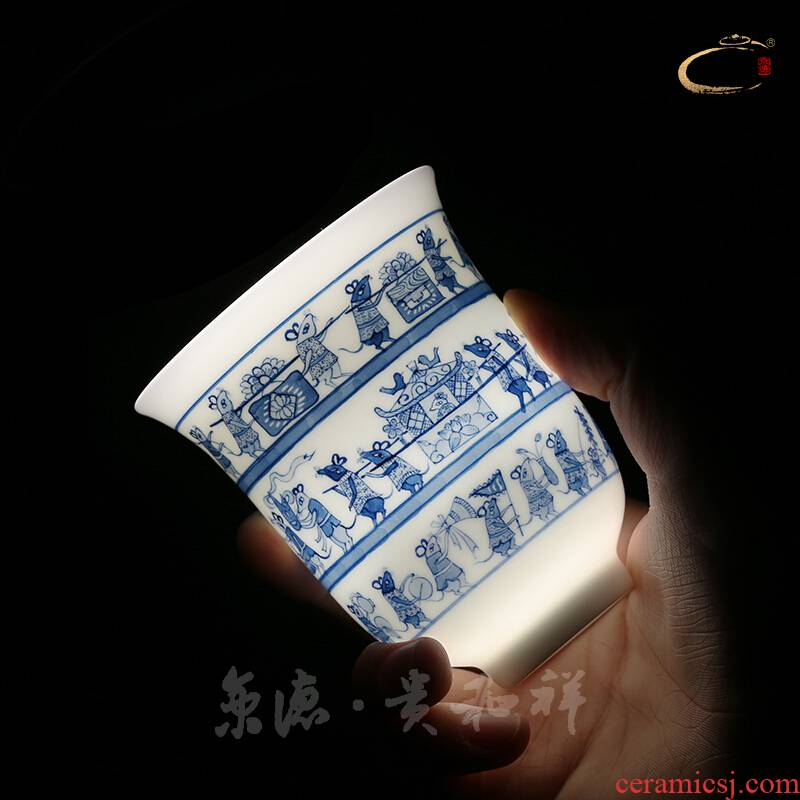 Jingdezhen blue and white mice and auspicious pure manual master cup cup cup single CPU hand - made ceramic kungfu Mary a big cup