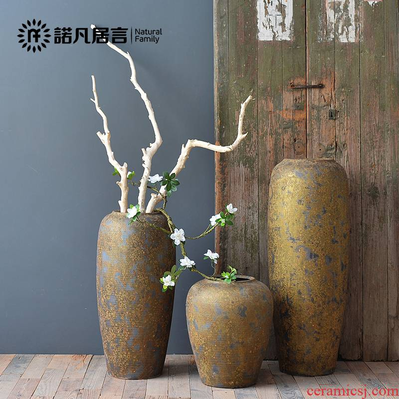 Ceramic vase landing creative placer gold retro nostalgia dried flower arranging flowers furnishing articles home decoration large European sitting room