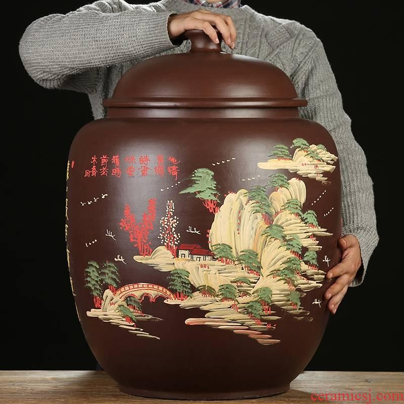 Qiao mu JS yixing purple sand tea pot shengchan dui storage tank barrel large POTS of pu - erh tea canned detong