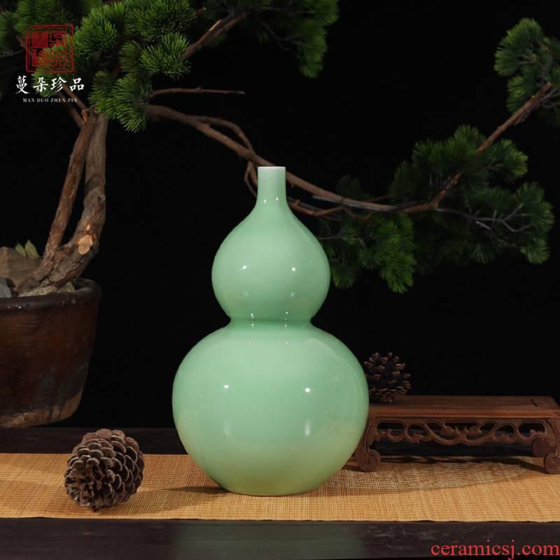 Glaze is contracted fashion decoration mesa gourd shape vase pure elegant celadon color color block display vase