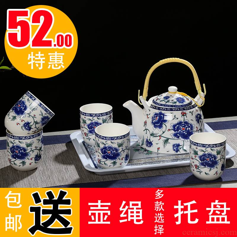 High temperature resistant ceramic girder pot of tea sets jingdezhen blue and white porcelain Japanese large capacity tea set a complete set of Chinese style