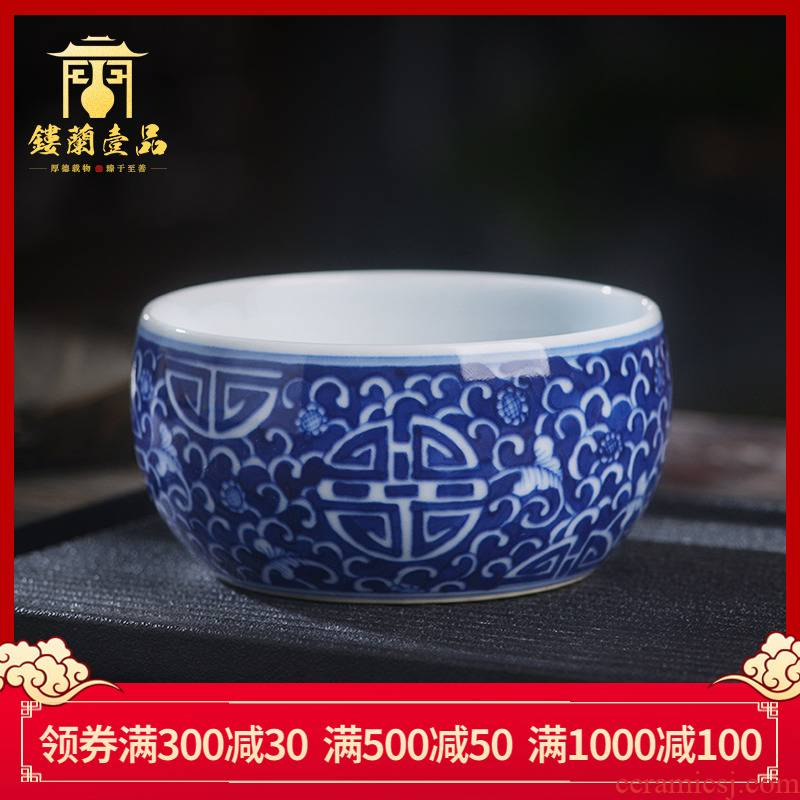 Ocean 's blue and white stays in jingdezhen ceramic all hand - made maintain master cup single cup cup a cup of tea cup
