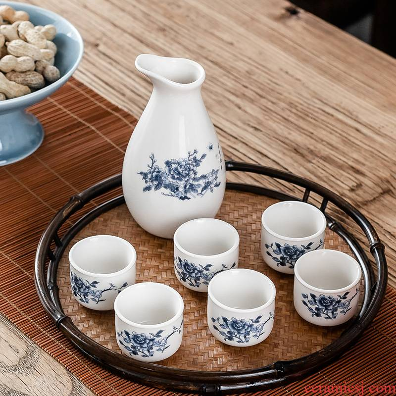 Hui shi traditional ceramic wine glasses suit household drinking rice wine liquor cup archaize points clear hip fine wine