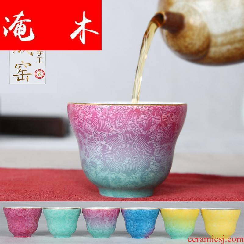 Flooded wooden checking enamel to plunge into the steak spent fuels the monochromatic gradient tea cups of jingdezhen ceramic tea set