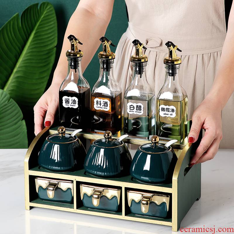 Nordic ceramic condiment boxed set combination of household kitchen seasoning as cans frame oil pot of salt jar storage box