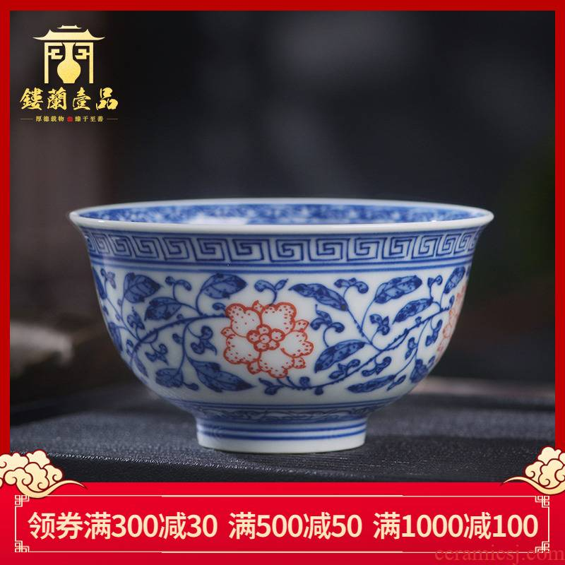 Jingdezhen ceramic inside and outside all hand - made maintain full workers bound branch lotus pressure hand cup master single CPU kung fu tea cups