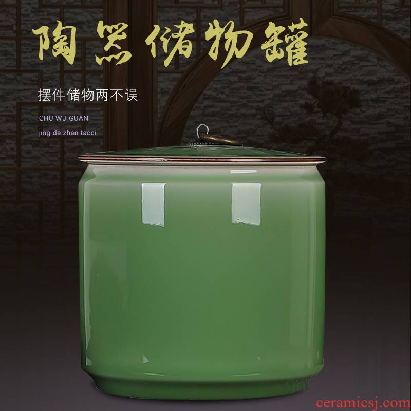 Jingdezhen ceramics round candy storage tank caddy fixings furnishing articles sitting room kitchen decoration home decoration