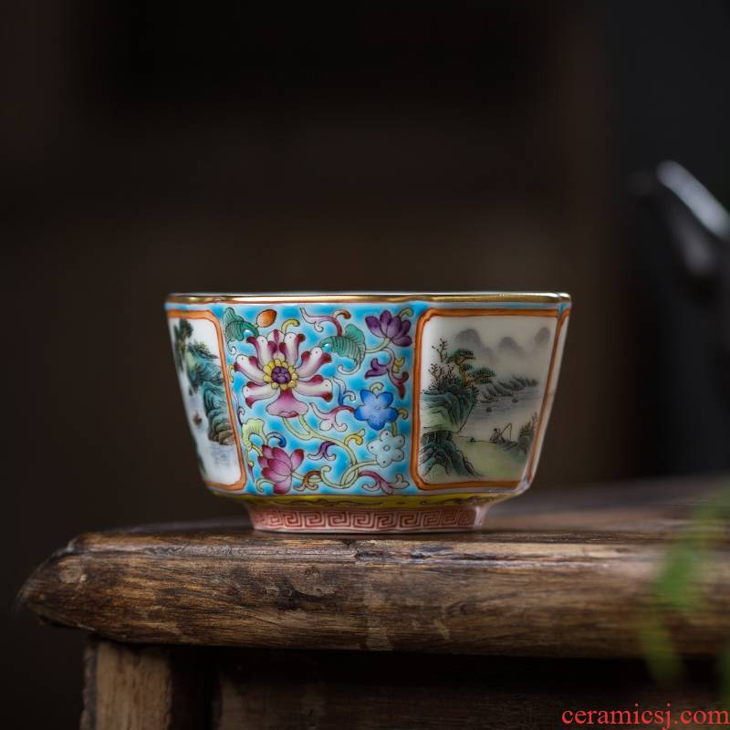 The Owl up jingdezhen heavy colored enamel landscape tea spring, summer, autumn and winter when the six - party master sample tea cup kung fu tea cups