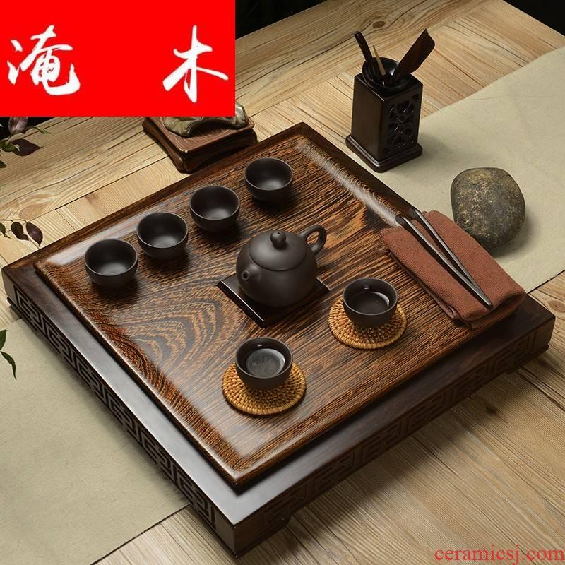 Flooded wenge wood tea tray was solid wood home large sets of purple sand tea set suit ebony tea sea drainage contracted