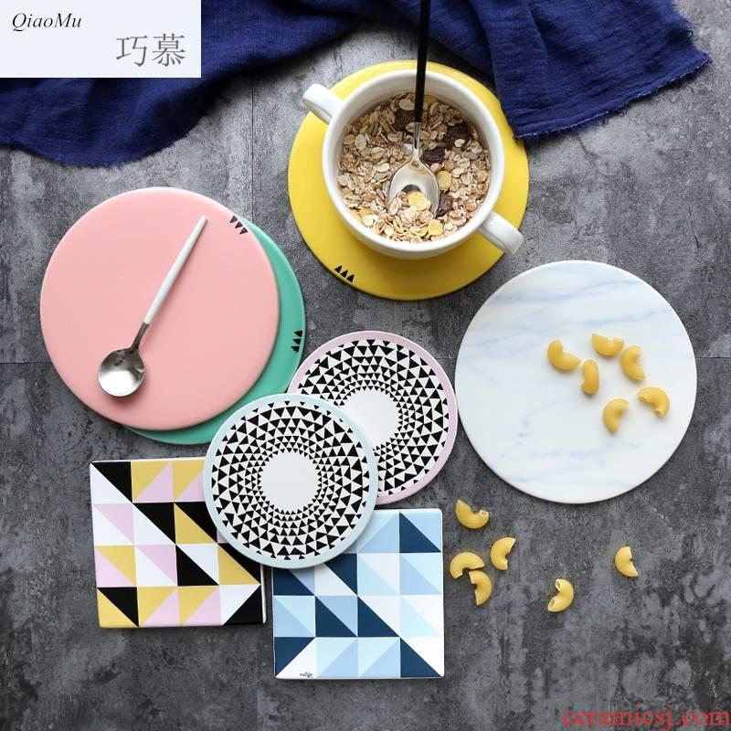 Qiao mu creative Nordic geometric ceramic cup mat waterproof non - slip MATS lawsuits table insulation pad the eat mat table mat