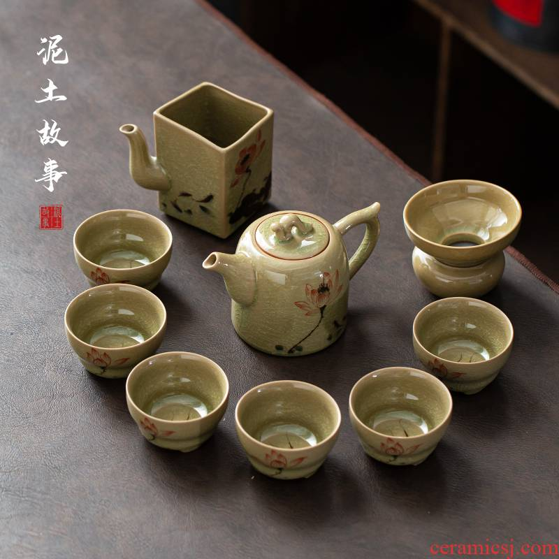 Jingdezhen hand - made of make tea tea set gift boxes home sitting room office contracted the up kung fu tea set