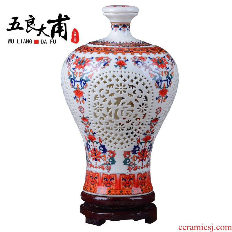 Jingdezhen ceramic vase pastel double hollow vase wine bottle is the sitting room porch modern household act the role ofing is tasted