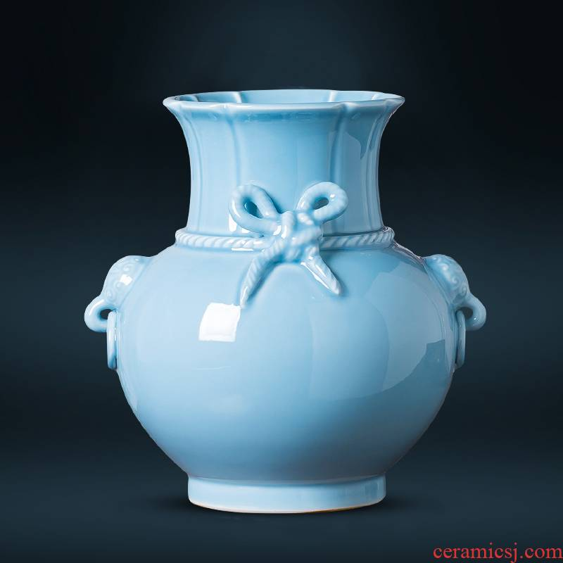 Jingdezhen ceramics azure glaze antique vase carved Chinese style restoring ancient ways home wine sitting room adornment is placed
