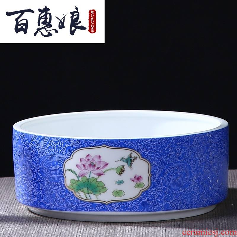 (niang oversized tea grilled ceramic flower porcelain bowl kung fu tea set washing dishes XiCha ship pot of tea cups