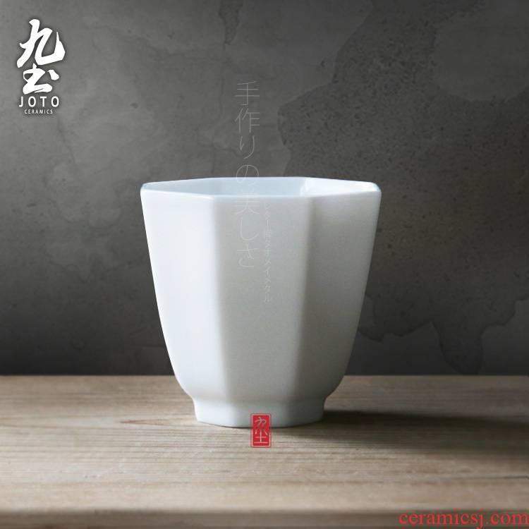 Octagonal nine soil sample tea cup sweet manual craft kung fu tea cups small cups of jingdezhen cups Japanese tea taking thin body