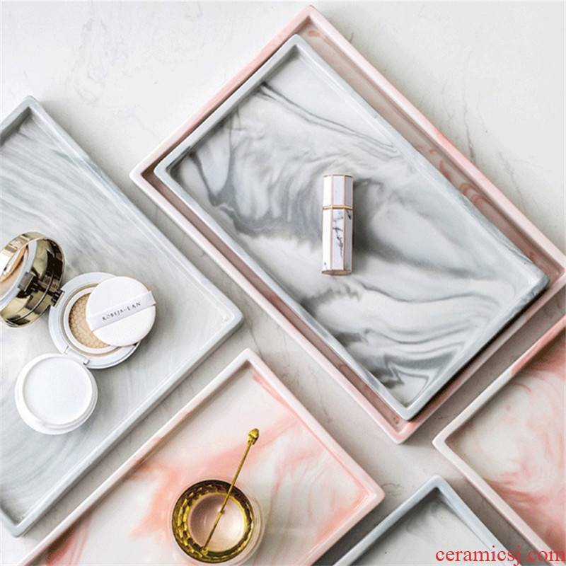 The Nordic jewelry receive our r marble tray household bathroom sink washing ceramic rectangle plate