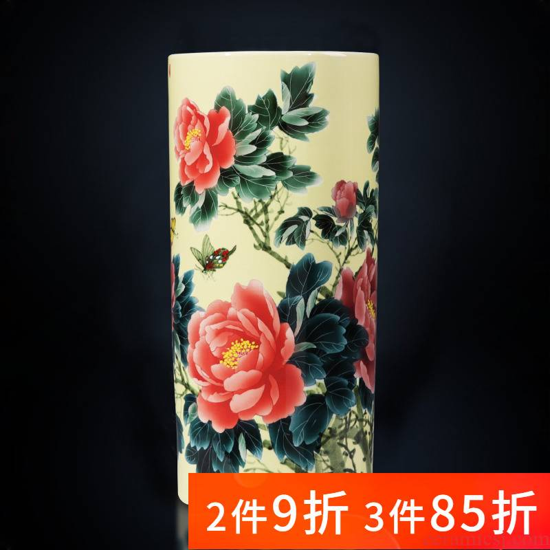Jingdezhen ceramics hand - made straight large landing quiver vases, new Chinese style home sitting room adornment is placed