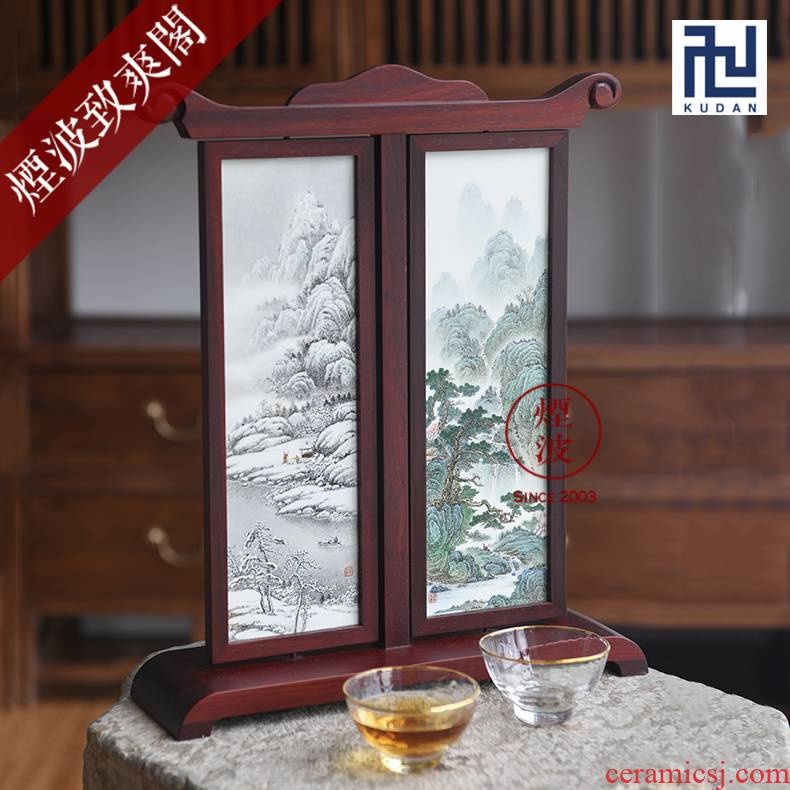 Jingdezhen nine calcinations hand - made famille rose porcelain wonderful hand write four seasons scenery desktop screen furnishing articles