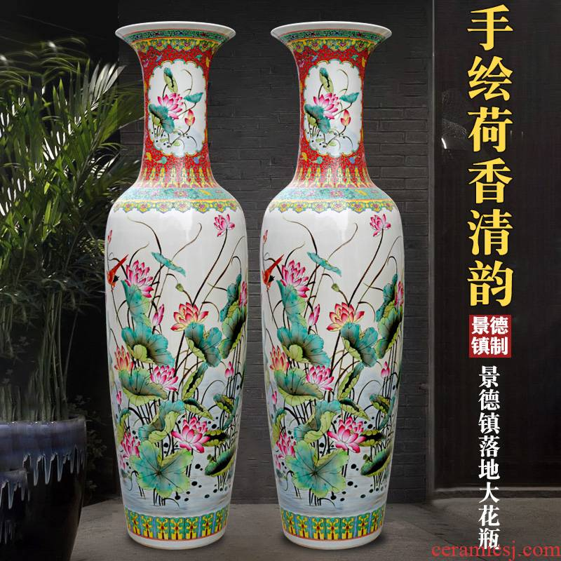 Jingdezhen ceramics hand - made pastel lotus of large vases, home living room TV ark adornment furnishing articles