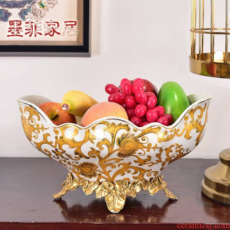 American high - end key-2 luxury ceramic fruit tray for the dish furnishing articles home sitting room tea table with copper 'lads' Mags' including nuts the receive a case