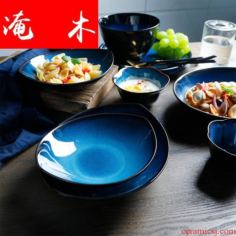 Flooded trough plate variable glaze blue creative ceramic tableware household food dish bowl continental food dish is irregular