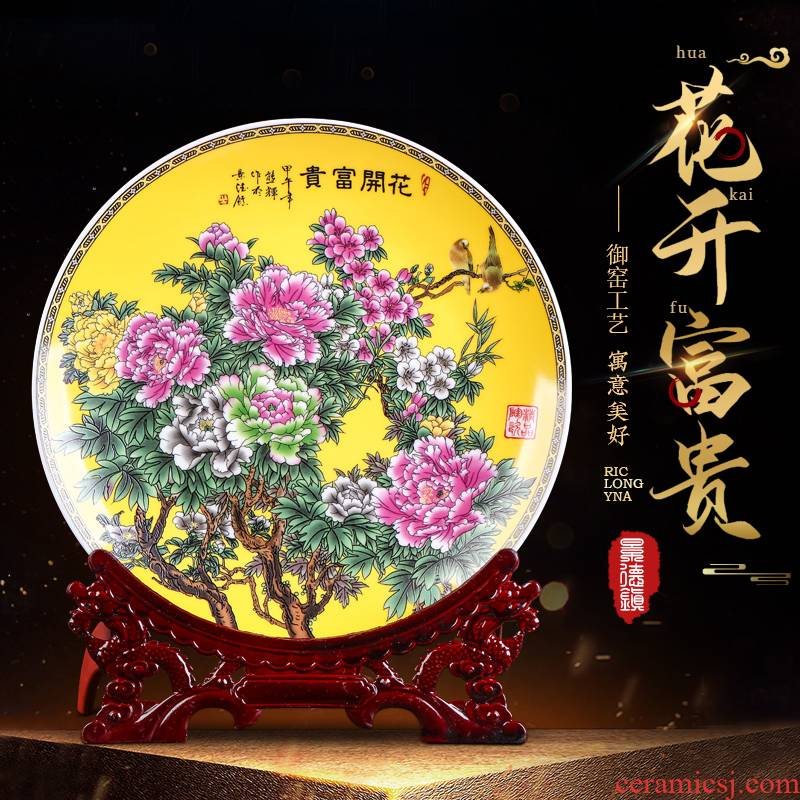 Jingdezhen ceramics powder enamel blooming flowers, hang dish sitting room of Chinese style household wine TV ark, decoration plate of furnishing articles