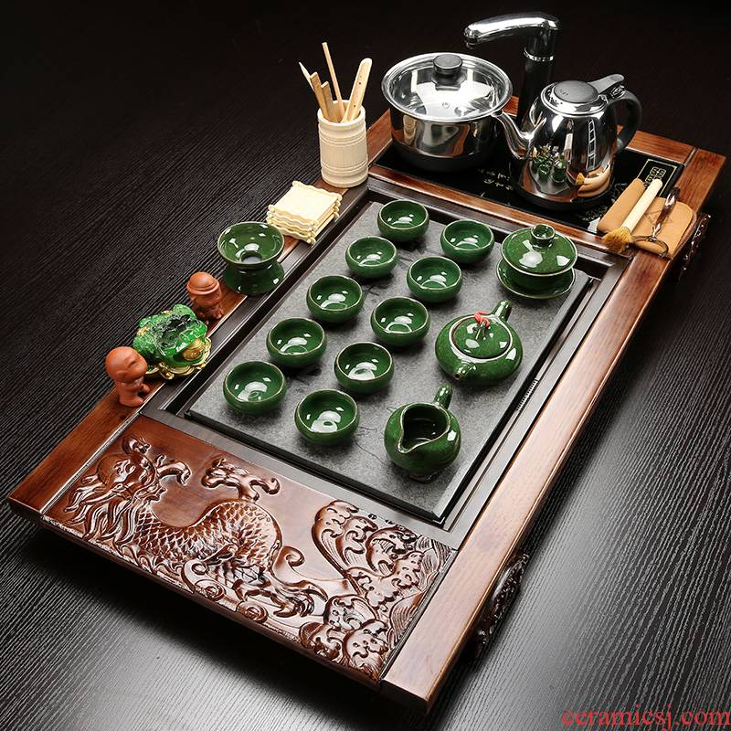 Hui shi kung fu purple sand tea set ceramic contracted household solid wood tea tray of a complete set of induction cooker four unity