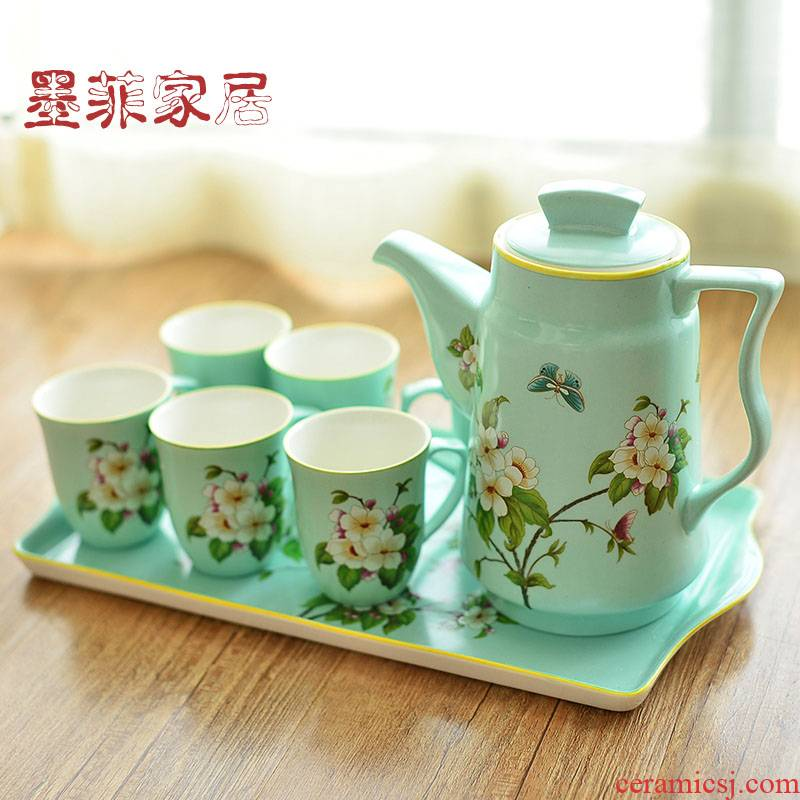 New Chinese style ceramic tea set suit American country tea cool afternoon tea coffee kettle sitting room tea table furnishing articles