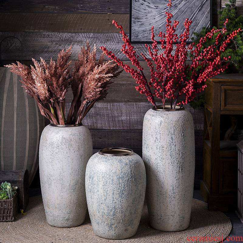 Nordic do old contracted sitting room of coarse pottery flower arranging place of large vases, ceramic dry flower adornment restoring ancient ways furnishing articles