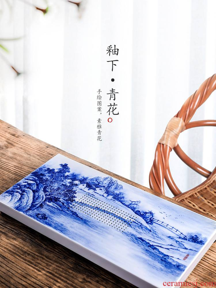Blue and white hand - made kung fu jingdezhen ceramic tea set tea tray with I and contracted water dry small tea tray