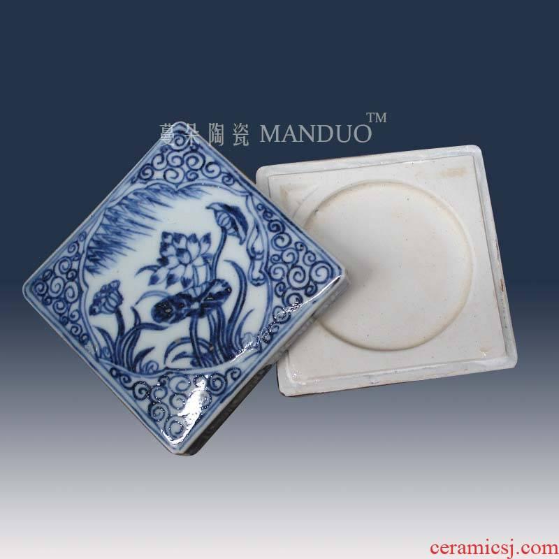 Jingdezhen blue and white ink cartridges Jingdezhen blue and white Wen Fang hand - made of hand - made products blue brush lick porcelain cartridges