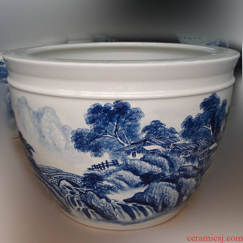 Jingdezhen hand - made scenery landscape big fish porcelain porcelain cylinder cylinder display calligraphy and painting the sitting room is big