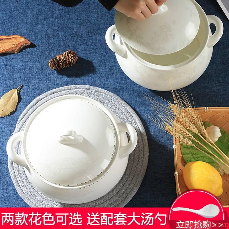 Jingdezhen ceramic soup pot ipads China large ears against the hot soup basin court pot with lid houseware crock pot soup pot