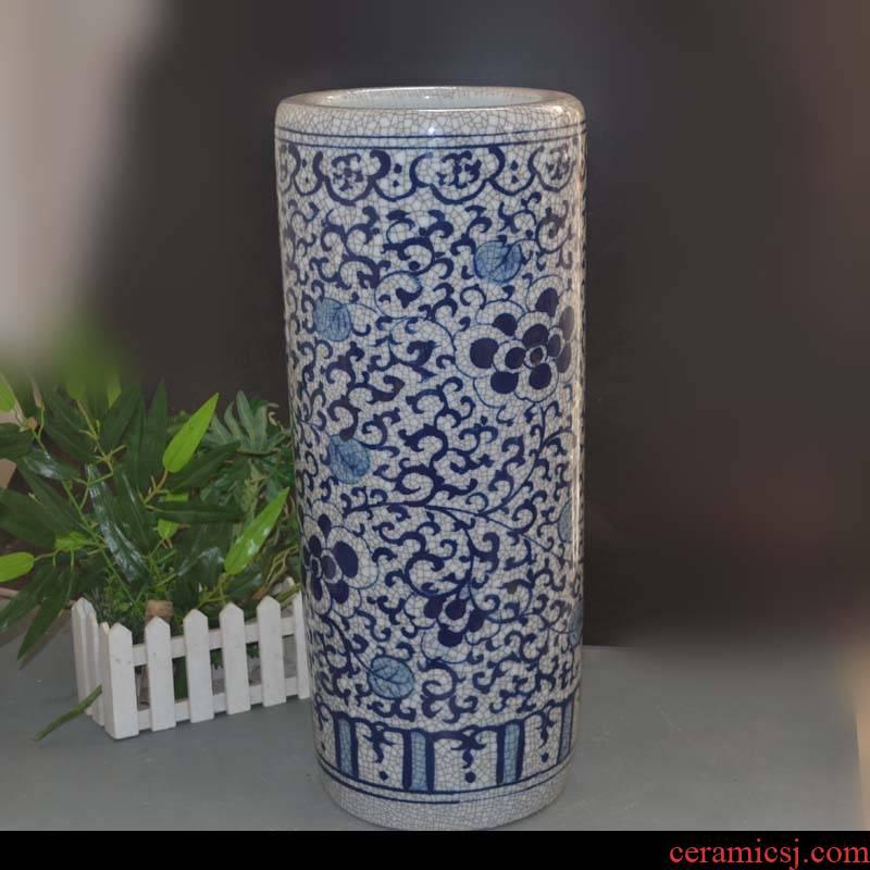 Open the slice of jingdezhen porcelain of crack quiver and calligraphy receive a porcelain decoration quiver sitting room hall umbrella receive barrels